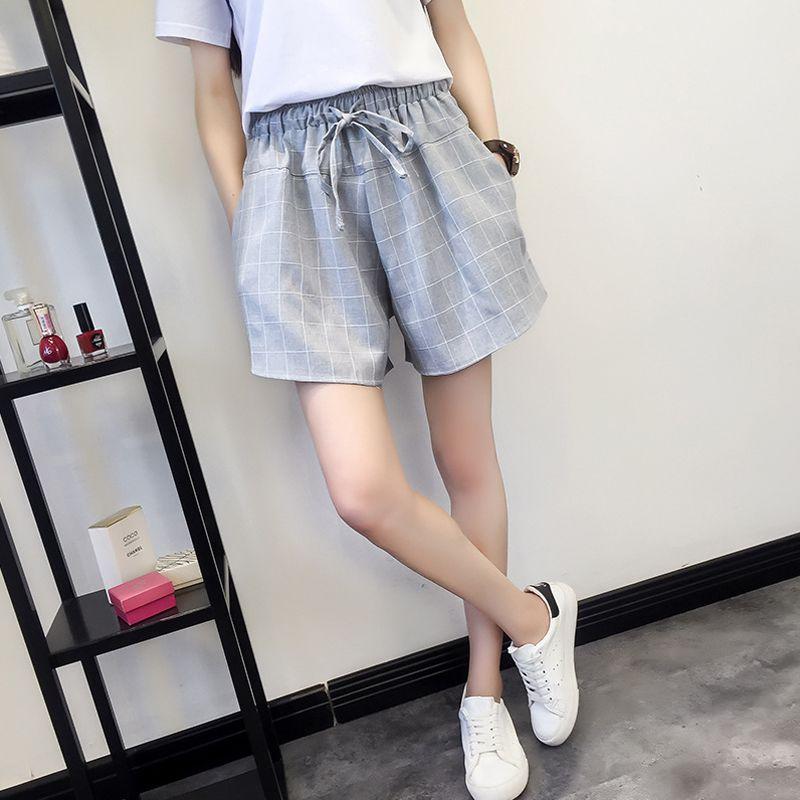 Plaid Shorts For Women Bow Drawstring Summer Pocket Shorts Female Fashion Elastic Waist Large Size Loose Casual  Shorts Feminino