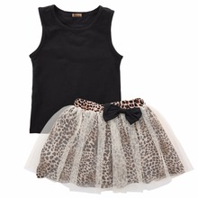 New Fashion Baby Girls Clothes 2016 Kids Girls Vest Top and Leopard Mesh Gown Tutu Skirt 2pcs Summer Dress Outfit Girls Sets