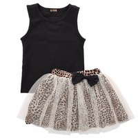 New Fashion Baby Girls Clothes 2016 Kids Girls Vest Top And Leopard Mesh Gown Tutu Skirt