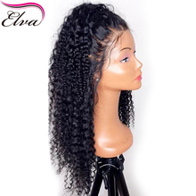 180% Density 360 Lace Frontal Wig With Baby Hair Brazilian Human Hair Wigs Pre Plucked Curly Remy Elva Hair 360 Lace Wig 10″-22″