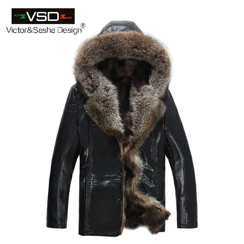 Бесплатная доставка морозные Зимние Модные мужские пальто с мехом кожаная куртка теплая шапка кожаные куртки мужские высококачественные Лидер продаж