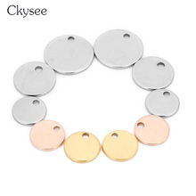 Ckysee 20Pcs/lot 6/8/10/12/15/20/25mm Stainless Steel Flat Round Disc Charms Pendant Gold Small Hole Blank Stamping Tag