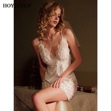 Hoyyezen new sexy open nude back lace silk pajamas suspender nightdress set sleepwear