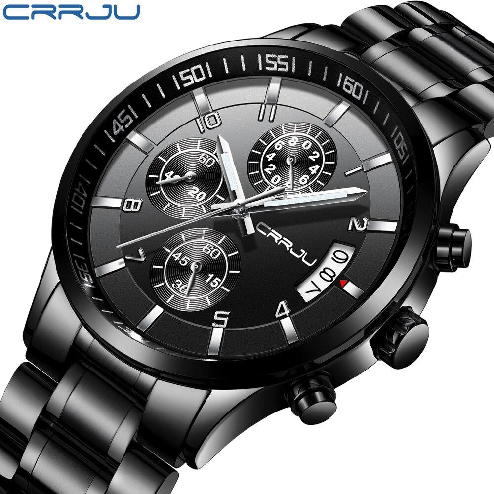 Men Watch Luxury Brand CRRJU Chronograph Classic Male Clock Fashion Quartz Wristwatch Relogio Masculino Horloges Mannens
