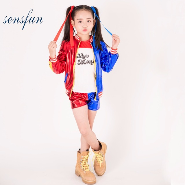 085453565c52 Sensfun 3pcs Harley Quinn costume jacket T-shirt Tee Daddy's Lil Monster Suicide  Squad Cosplay Halloween Costume for Kids Girl