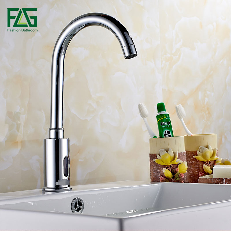 FLG Bathroom Automatic Touch Free Hot & Cold Sensor Faucets water saving Inductive electric Water Tap mixer power touch free water saving chrome