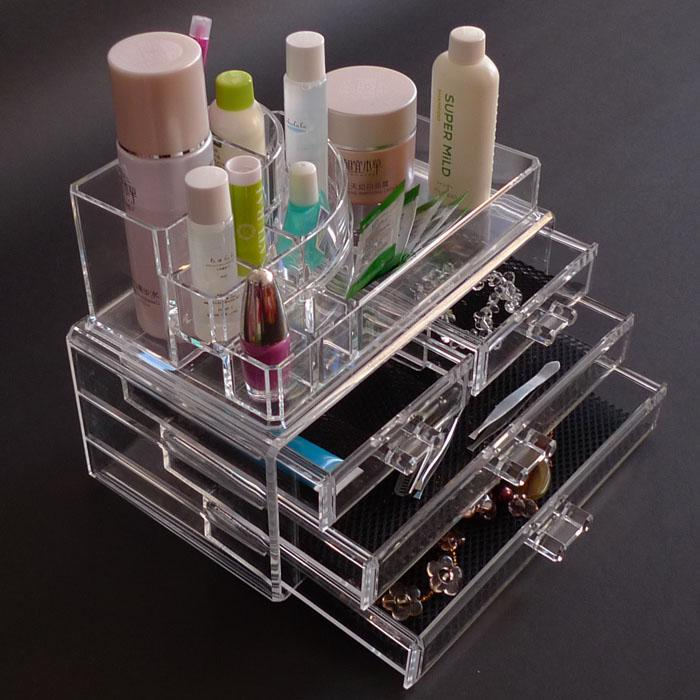 UNS lager-Luxus Acryl <font><b>Cosmetic</b></font> <font><b>Organizer</b></font> Box Makeup <font><b>4</b></font> Schubladen image