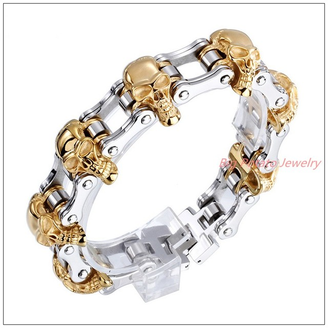 86618mm 141g New Design 316L Stainless Steel Silver Gold Biker