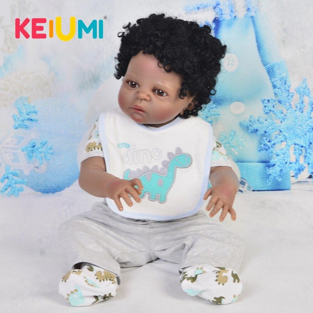 Realistyczne 23 ''czarny Reborn Baby lalki pełne silikonowe ciało etniczne lalki zakrzywione włosy Reborn Menino piękny 57 cm chłopiec towarzyszy zabaw w Lalki od Zabawki i hobby na AliExpress - 11.11_Double 11Singles' Day 1
