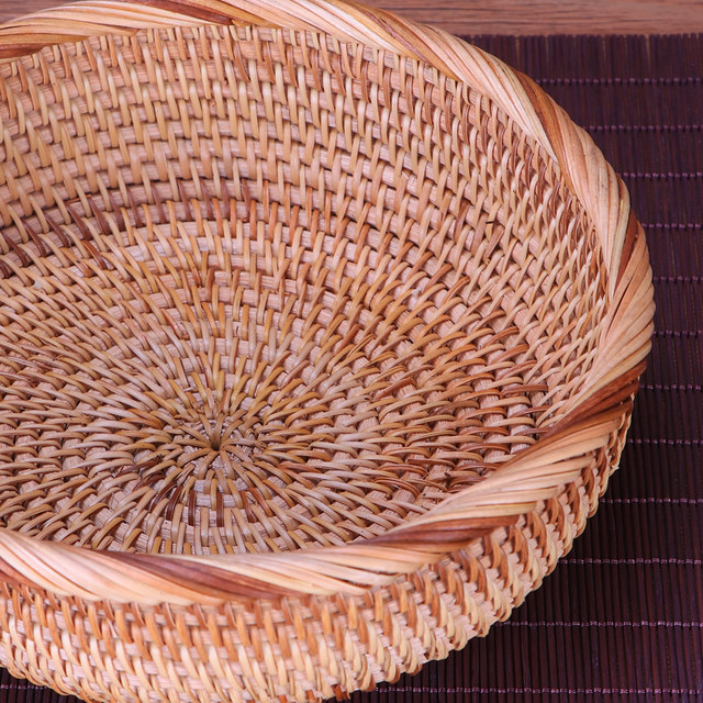 Round Storage Basket Fruit Dish Rattan For Weaving Handmade For Kitchen  Food Picnic Bread Sundries Decor Container Organizer