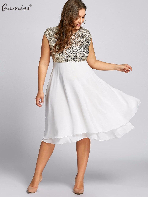 Gamiss Frauen Volant Plus Größe Kleid Sequin Sparkly Kleider ...