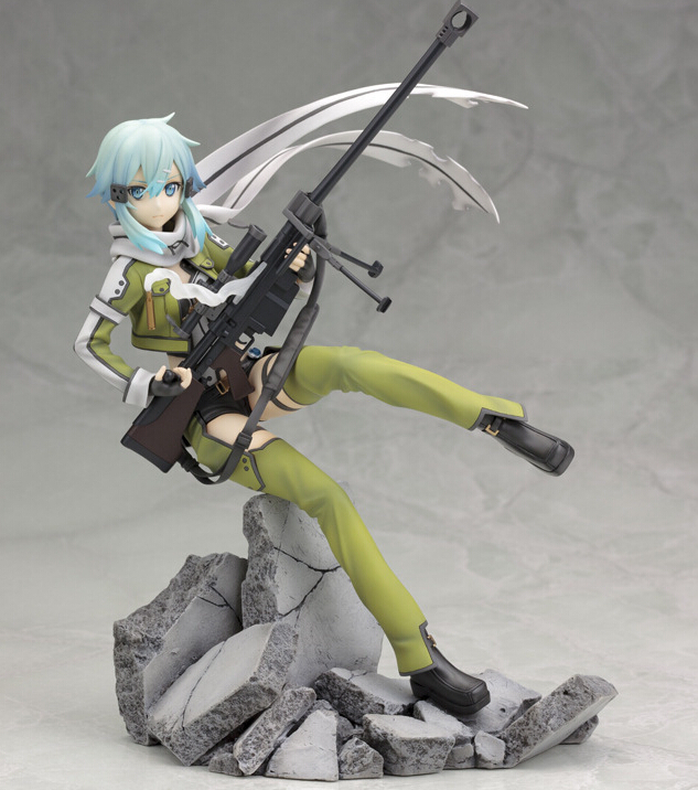 Sword Art Online Action Figure Toys Asada Shino  Anime PVC 220mm Sword Art Online Series Phantom Bullet Japanese Anime Figures