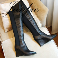 JUNBIE New Fashion Black Rome Gladiator Over The Knee HIgh Thigh High Boots Pointed Toe Slip On Women Comfrotable Wedges Shoes