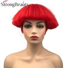 Strong beauty perruque synthétique lisse courte, perruque Yaki en forme de tête champignon résistante à la chaleur, rouge, blanche, Blonde et noire