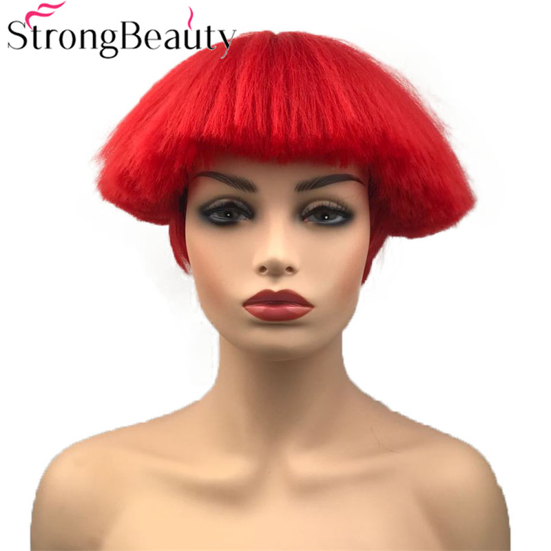StrongBeauty Short Yaki Straight Synthetic Wigs Red/White/Blonde/Black Mushroom Head Wig Heat Resistant Hair