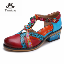 Women Genuine leather oxford Sandals pumps shoes vintage lady oxford heels shoes for women red shoes woman 2019 summer spring women genuine cow leather summer sandals vintage handmade bow blue pink white oxford shoes for women sandals shoes 2018 spring