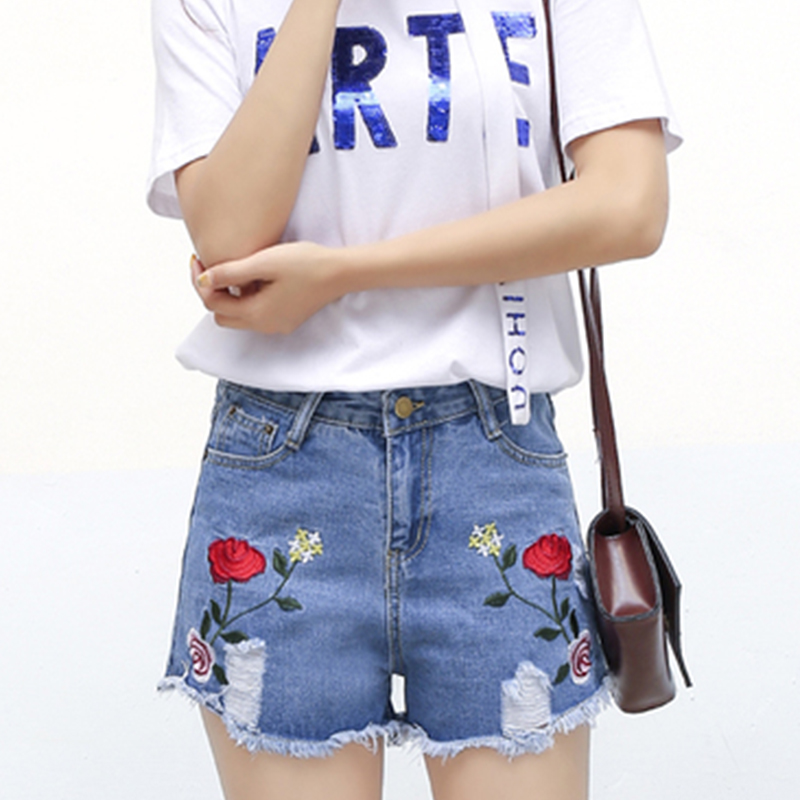 Summer Women Jeans 2017 Europe New Fashion Leisure Embroidery Broken hole Jeans Women Show thin Wide
