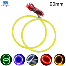 1 Pair 90mm 9V-30V COB 66 SMD Colorful RGB LED Car Halo Rings Light Waterproof Angel Eyes Headlight for Universal