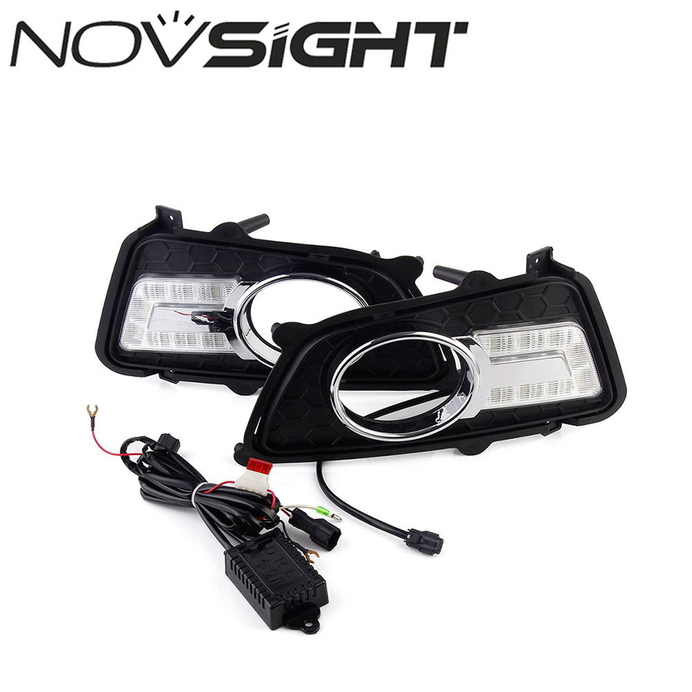 NOVSIGHT Car LED Daytime Running Lights DRL Driving Fog Lamps Light U-Type Lamp For KIA Sportage 2011-2015 Free Shipping jgrt 2011 for nissan sentra fog lights led drl turnsignal lights car styling led daytime running lights led fog lamps
