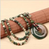 Individual character style of pure hand carved peace buckle Hollow out gourd pendant Woven round bead necklace charm female styl