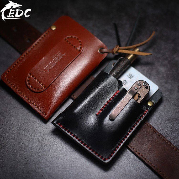 A113 Simple EDC Holster Tool Set Knife Set Small Wallet ID Card Set Real Leather Tanned Leather Handmade