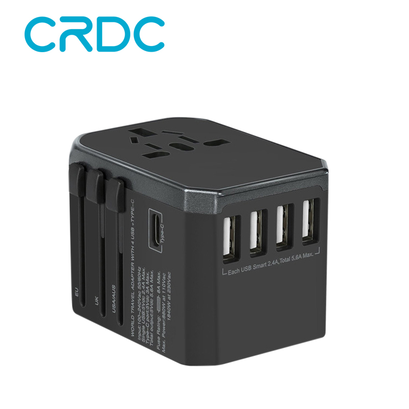 CRDC Universal Travel Adapter With 4 USB Wall Charger For UK,US,AU,CA,Travel Plug Adapter for iPhone, Android, All USB Devices