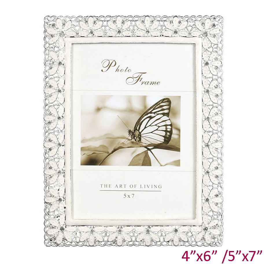 7inch Crystal Pearl Oval Wedding Photo Frame Metal Alloy: Wedding Accents Shiny Silver Plating Hollow White Flower