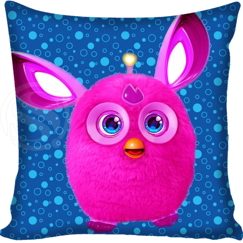 New Custom Pillow Case Cartoon Furby Square Pillowcase zipper Two sides  35x35cm 40x40cm 45x45cm 60x60cm Custom your image