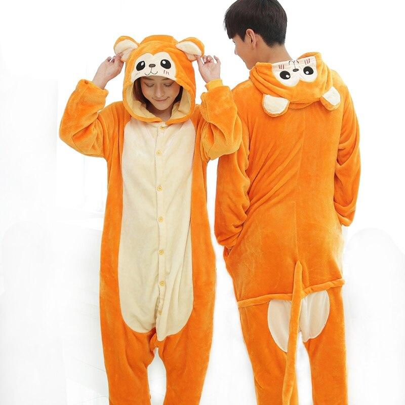 Sleepwear Animal Monkey Pajamas For Adults Women Couple Teenagers Home Pijamas Clothing XCP18