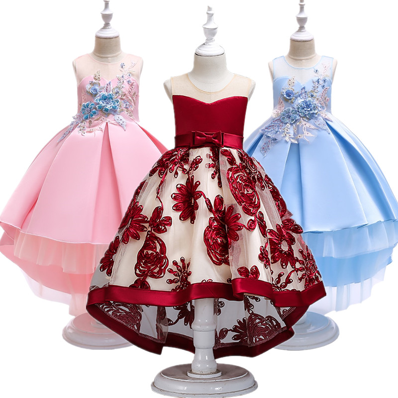 Flower     Girl     Dresses   Red Chiffon long Tailing Pageant   Girl   Summer Children 2-10yrs Wedding Party Birthday Tutu   Dress   with Big Bow