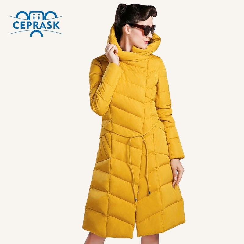 CEPRASK 2018 di Alta Qualità di Inverno Delle Donne del Rivestimento Più Il Formato Lungo Cappotto di Inverno delle Donne Alla Moda Con Cappuccio Caldo Imbottiture Giacca Parka