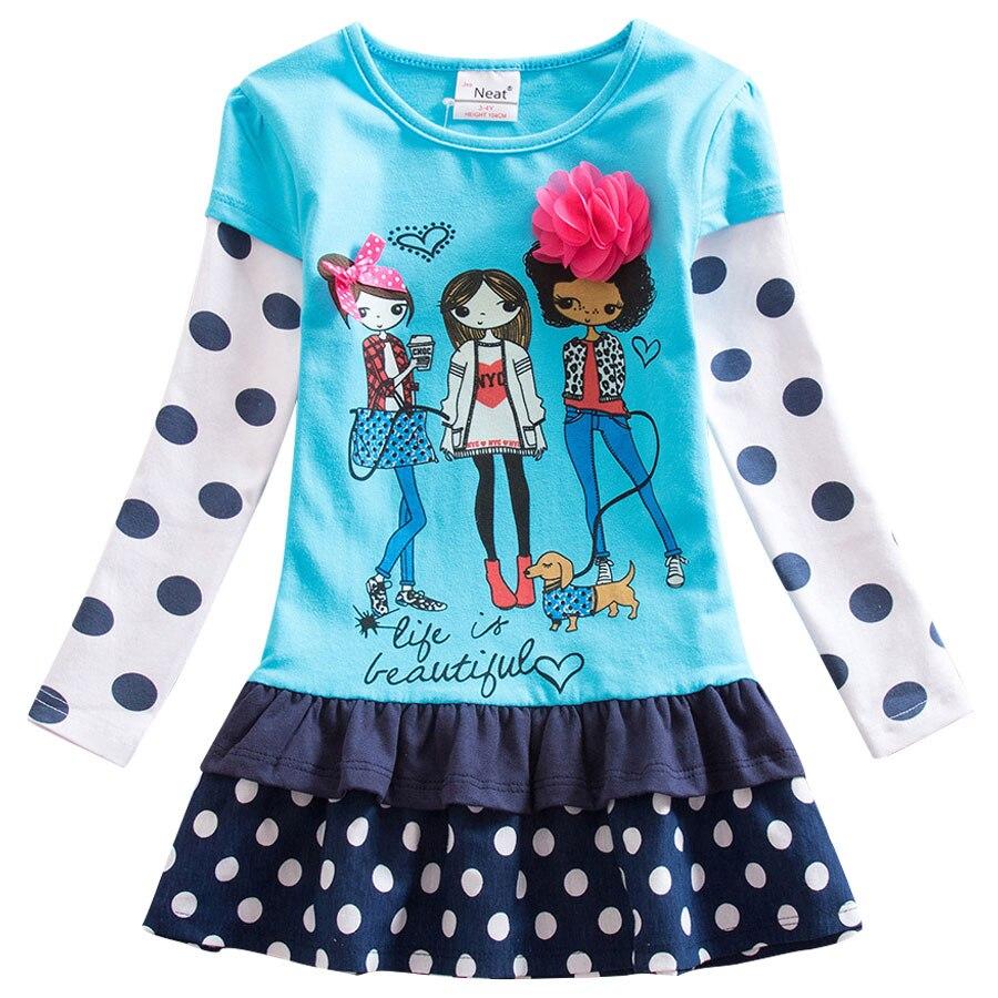 2018 new girl long sleeve dress print pattern flower leisure 100% cotton wave point girl children's clothing LH6495