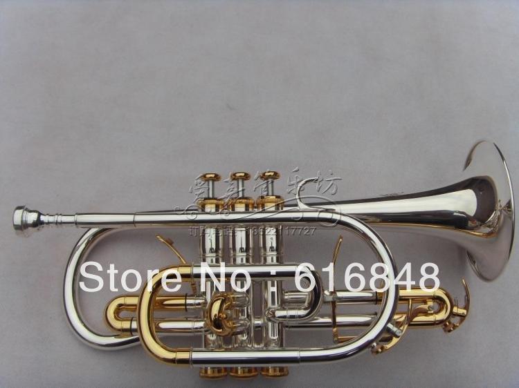 En gros B double déclencheur cornet plaqué argent appuyez sur la touche sur la surface de l'or