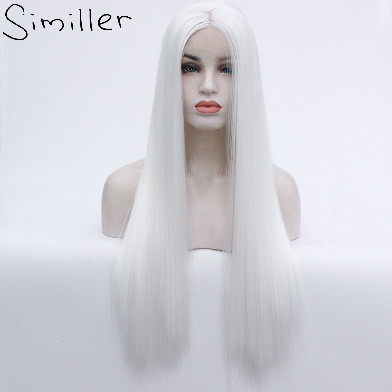 Similler Heat Resistant Fiber Hair Long Synthetic Wig White Color Silky Straight Synthetic Lace Front Wigs
