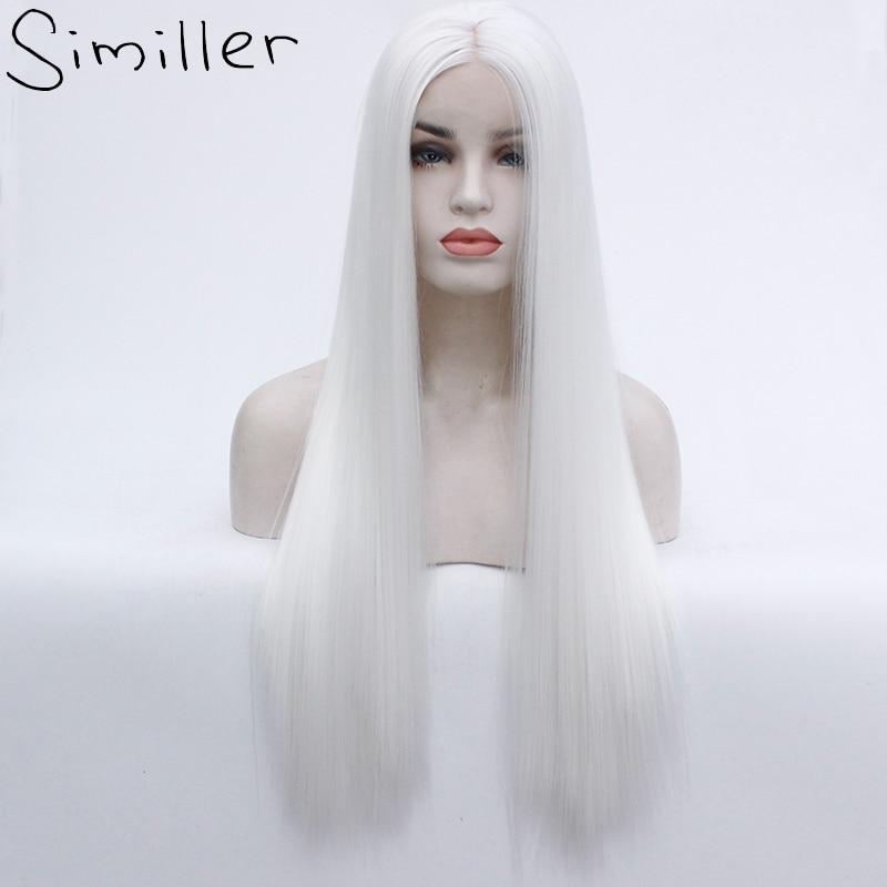 Pelo de fibra resistente al calor de Similler peluca sintética larga Color blanco sedoso recto de encaje sintético pelucas frontales para mujeres-in Pelucas sintéticas sin encaje from Extensiones de cabello y pelucas on AliExpress - 11.11_Double 11_Singles' Day 1