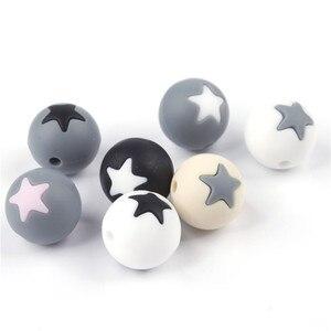 Image 4 - 50 шт Круглые Звездные силиконовые бусины 15 мм режущие шарики для зубов очищающий силиконовый Прорезыватель для зубов ожерелье украшение из бисера