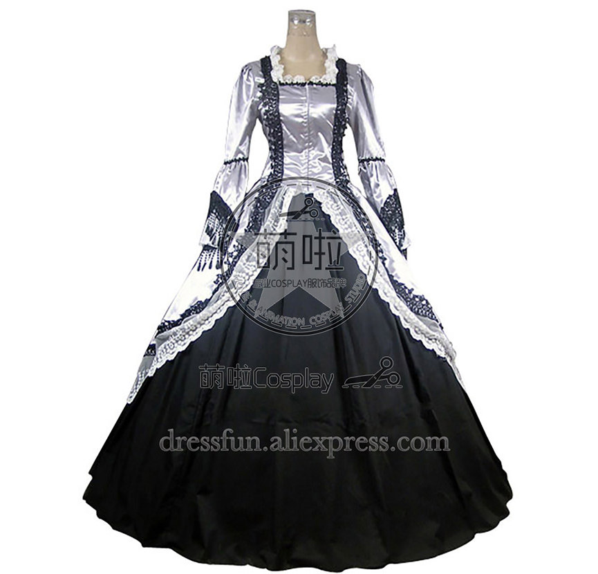 Marie Antoinette Victorian Wedding Dress Ball Gown Prom Cool Fashion Gothic Lolita Dress With Glossy fast Shipping Halloween