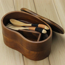 Double Deck Wooden Bento Lunch Box with Flatware
