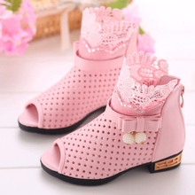 New Summer Fashion Ventilate Cute Lace Baby Gilr Shoes Kids Oxfords Fish Head Shoes Hook Loop Party Child Dress Shoes