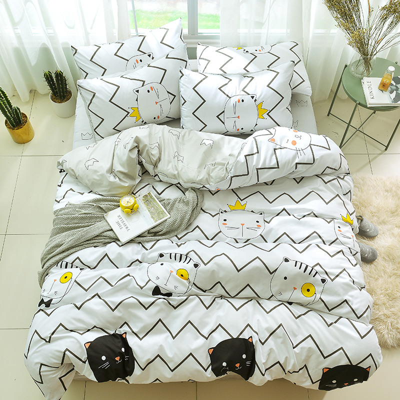 White black cartoon cat Simple 4pcs Bedding sets stripe bed sheet duvet cover pillowcase queen king Single or Student bedspread