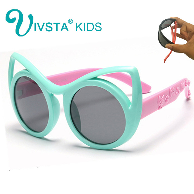 b98f05f99cb47 IVSTA Pequenos gatos olho de Gato Óculos De Sol Crianças Meninas Lentes  Polarizadas óculos de Sol