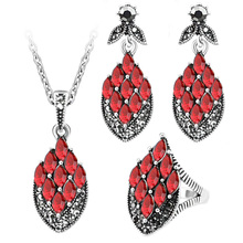 Fashion Charm Acrylic Vintage Jewelry sets For Women Bohemian Jewelry Magic color Rhombus Crystal Ring Necklace&Earrings Sets