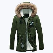 2017 Novos homens Jaqueta de inverno casaco quente Com Capuz Moda jaqueta Casual casaco de comprimento médio espessamento Para homens