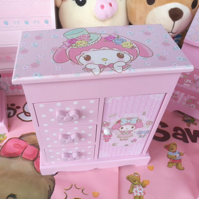 1pc Cartoon My Melody Simulation Miniature Wooden Boxes Display DollsJewelry Box Home Decoration For Girls Gifts