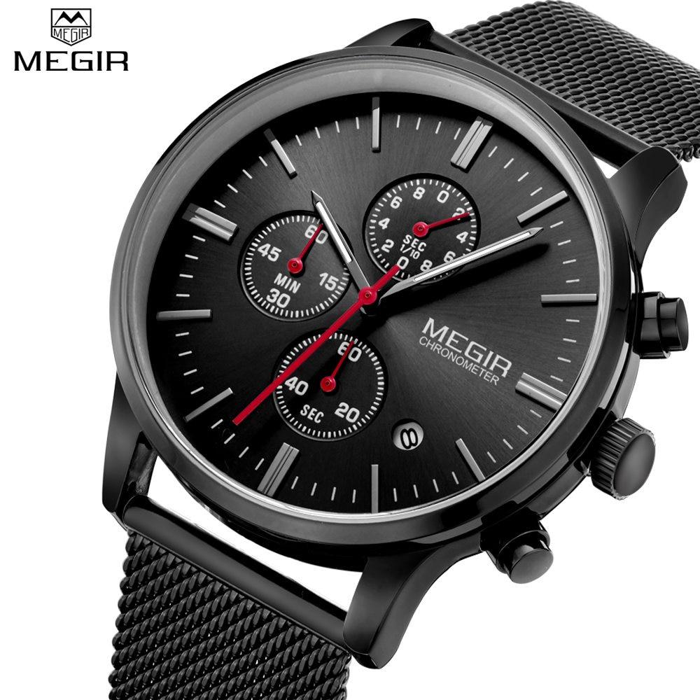 Prix pour MEGIR Hommes de Quartz-Montre En Acier Inoxydable Maille Bande Noir Montre Chronographe Mince Mens Watch Top Marque