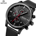 MEGIR Men's Quartz-Watch Stainless Steel Mesh Band Black Watch Chronograph Slim Mens Watch Top Brand Relogio Masculino Esportivo