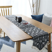 Modern Print Geometric Table Runner Tassel Solid Tablecloth TV Cabinet Tafelloper Cover for Diningroom Home Decor Wedding Party
