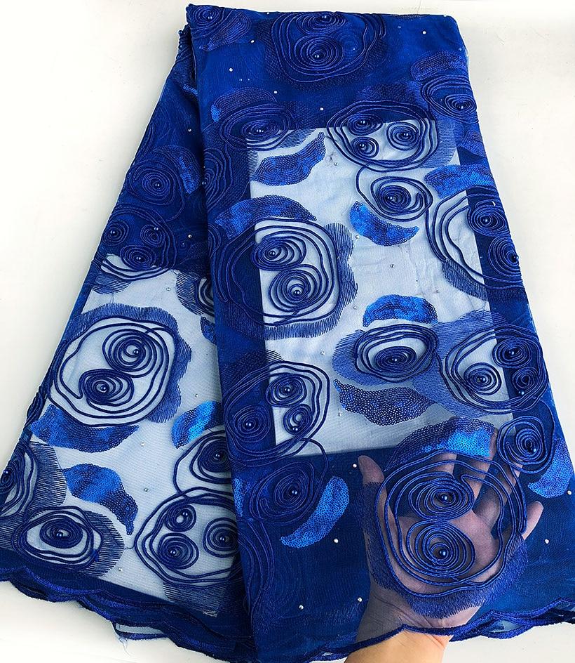 5 야드 로얄 블루 리본 자수 프렌치 레이스 아프리카 얇은 명주 그물 레이스 원단 나이지리아 웨딩 의류 천으로 부드러운 스팽글-에서레이스부터 홈 & 가든 의  그룹 1