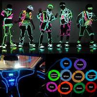 Neon EL drutu 1 M-5 M 10 kolorów taśmy LED z kontrolerem dla samochodów Dance Party rower buty odzież dekoracje oświetlenie