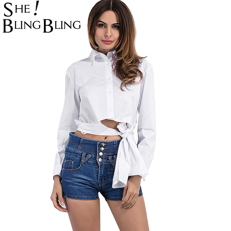 SheBlingBling Size S-2XL Women White Shirts Spring Summer Fashion Sleeve Shirts Cut Out Lace-Up Waist Asymmetric Blouse